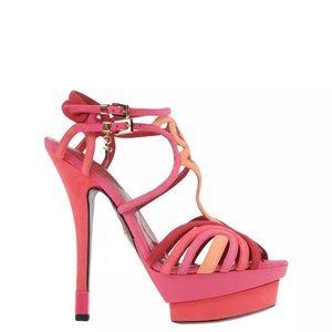 Cesare Paciotti Pink Leather Suede Sandals Sz 8.5